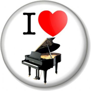 I Love / Heart PIANO Pinback Button Badge Musical Instrument Black Grand